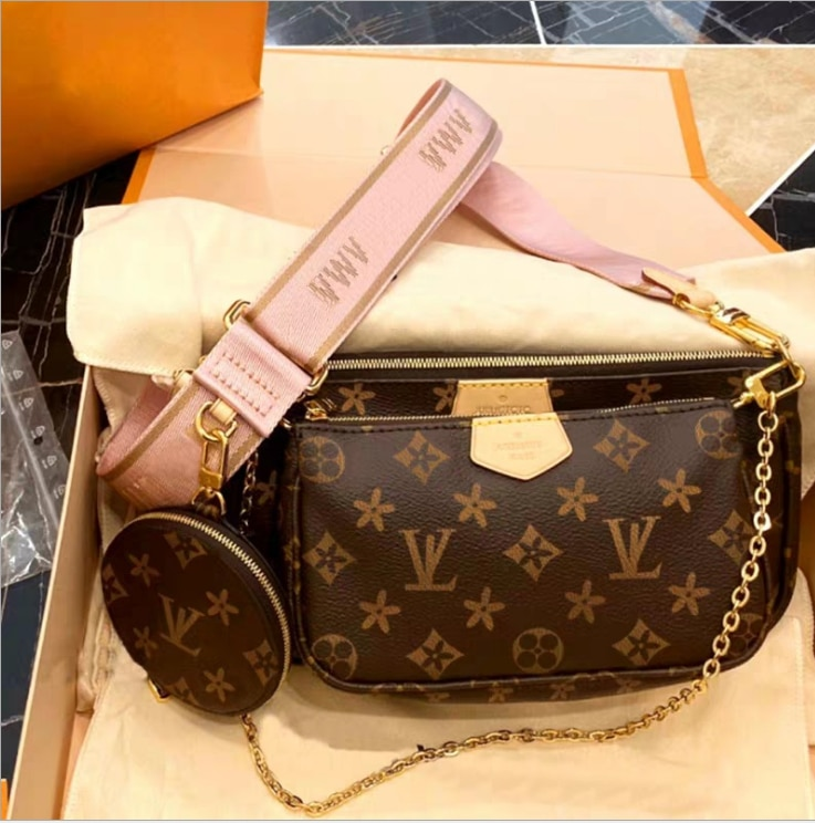 2021 ladies bag three-in-one belt box messenger bag women's handbag chain bag shoulder bag women