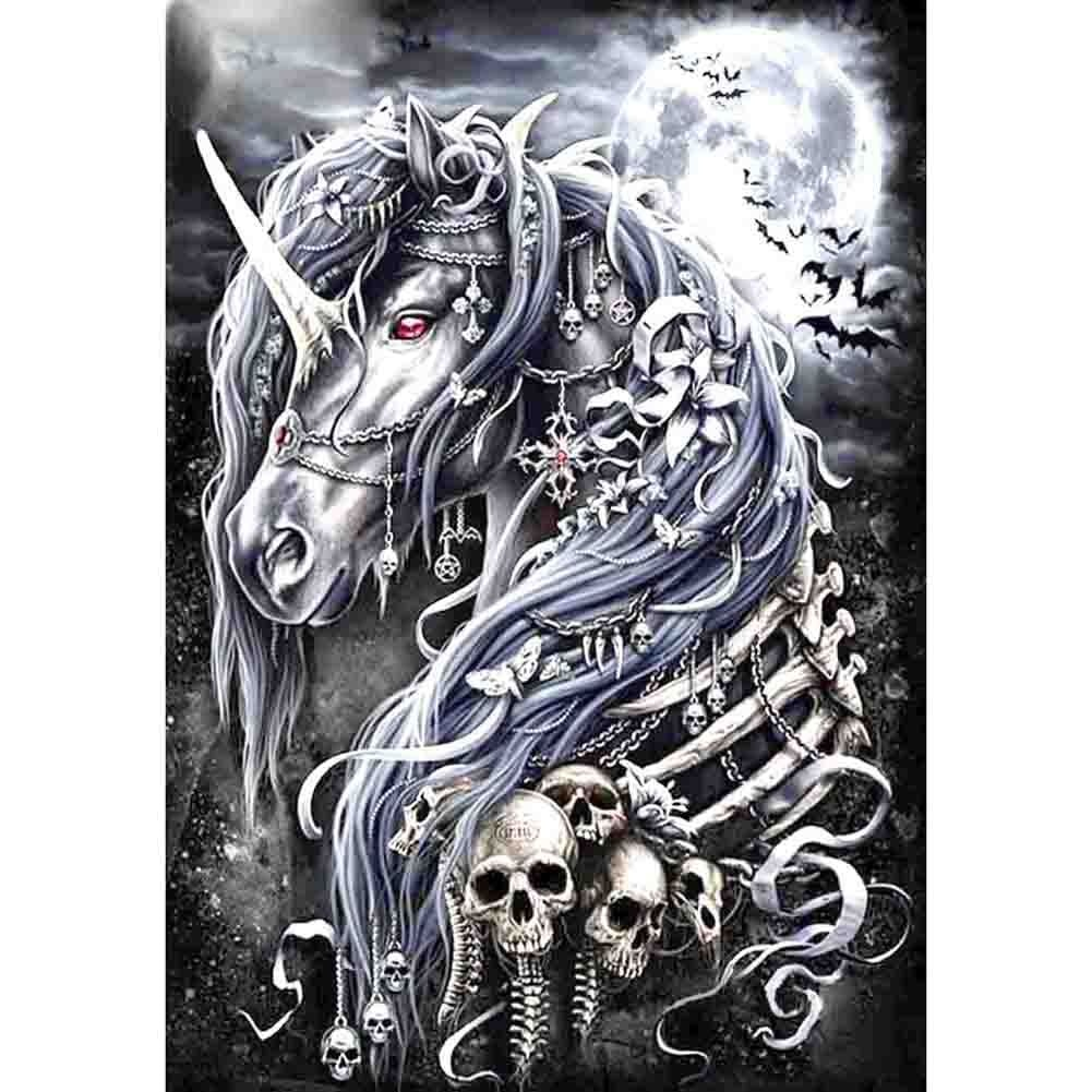 Animals Unicorn Skull Diamond Painting Diamond Embroidery 5d Diy Full Round Diamond Mosaic Diamond Paint Daimond Painting
