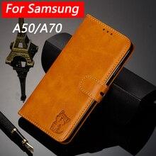 Plain Luxus Leder FlipCase Für Samsung Galaxy A50 A70 Weiche Silikon Abdeckung Karteninhaber Brieftasche Fall Für Samsung A70 A7 2019 coque