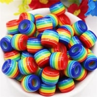 20pcs resin large hole rainbow color beads fit pandora bracelet european women girls rondelle bead craft for jewelry making gift