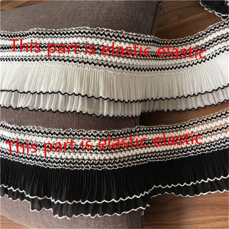 5 metros, negro, blanco, plisada de gasa, embellecedor con volantes, embellecedor de sobrebloqueo elástico de 10,5 cm/4,13 pulgadas de ancho
