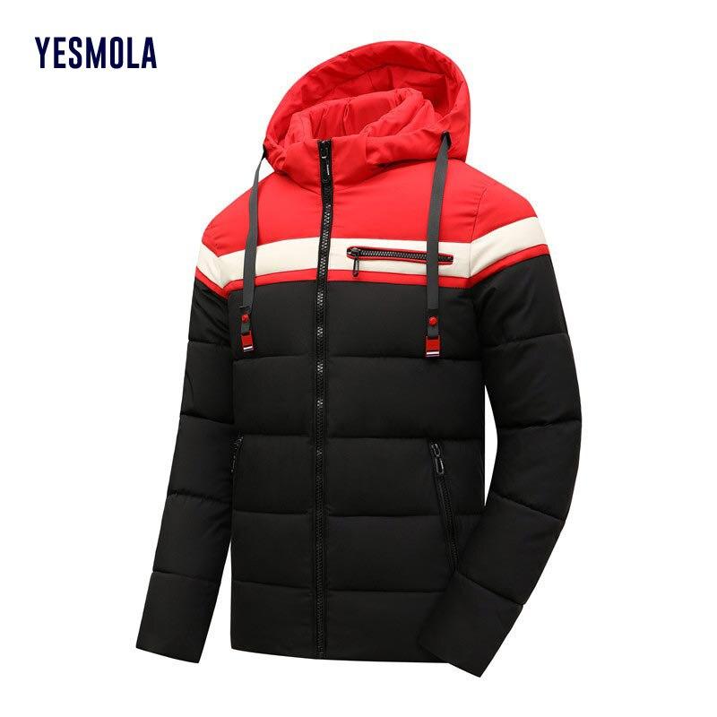 YESMOLA мужская куртка 2021 зимняя теплая однотонная утепленная Молодежная хлопковая одежда повседневное пальто на молнии Верхняя одежда с капю...