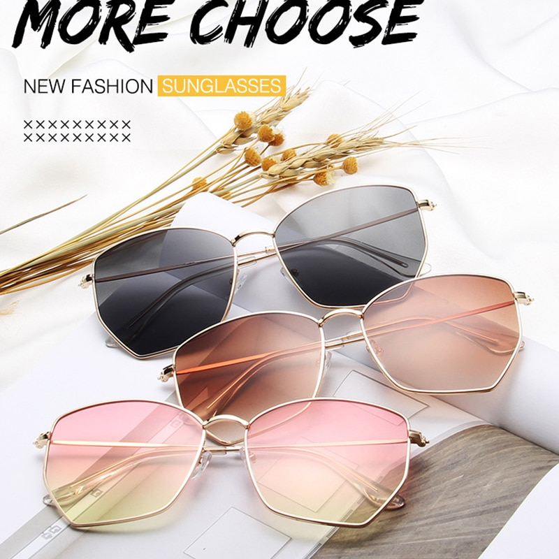 Oversized Sunglasses Women Shades For Men Luxury Designer Metal Glasses Vintage Retro Sun Glasses Goggles Lunette Gafas De Sol