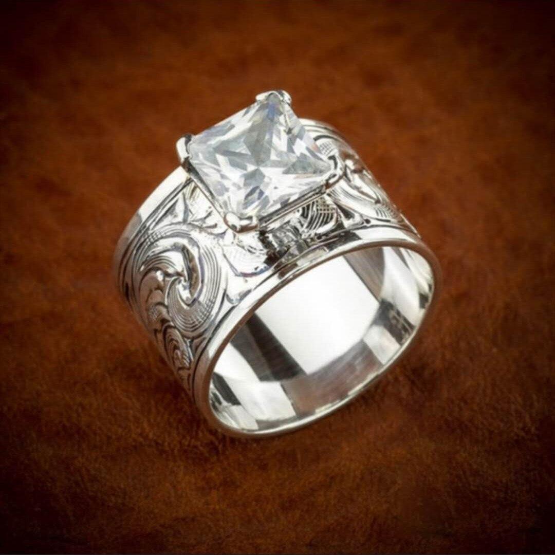 Anillo de piedra de circón CHUHAN estampado Punk, anillos para dedo con flor tallada Retro de Metal étnico antiguo para mujer, grandes joyas