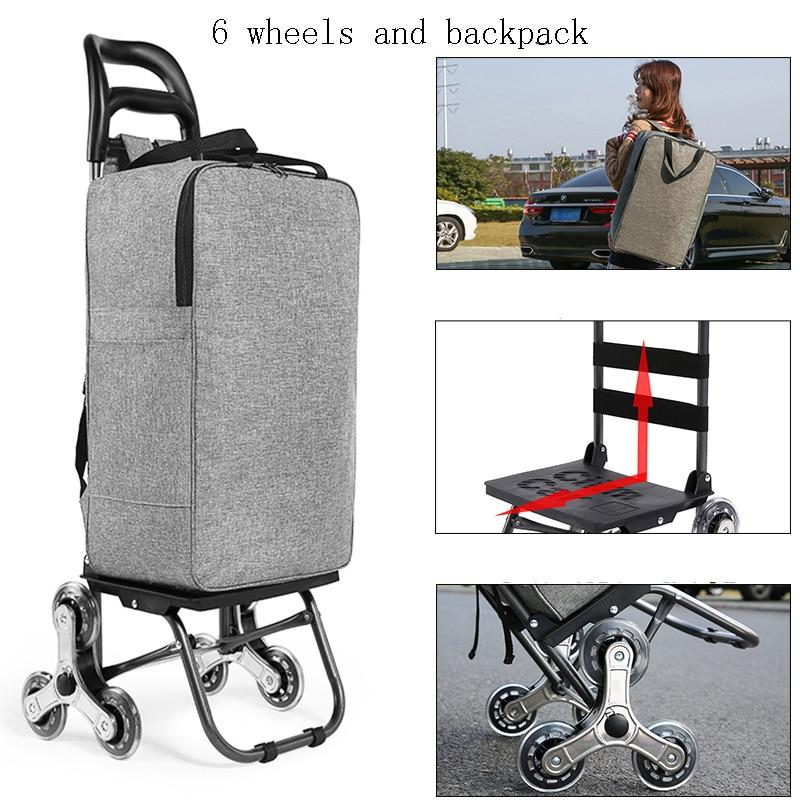 لكبار السن في الهواء الطلق عربة التسوق عربة كبيرة العنصر حقيبة تروللي بعجلات للطي مقطورة عربة المنزلية المحمولة النساء أكياس التسوق