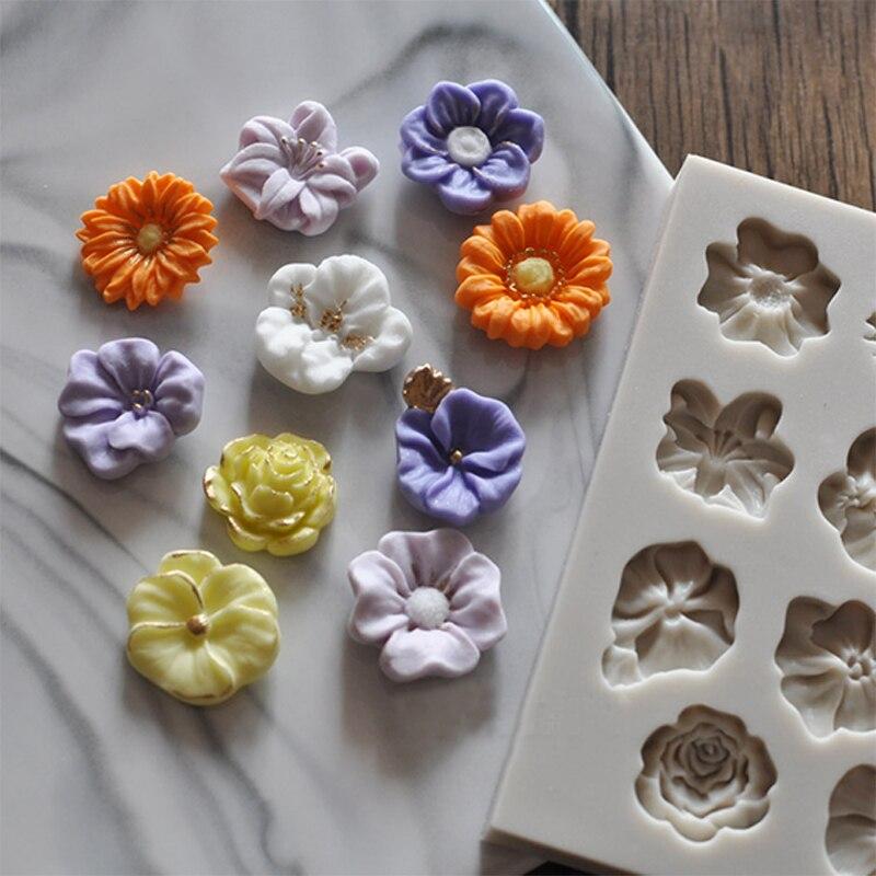 Moule à gâteau en forme de Rose de tournesol   Fleurs de Silicone, bordure bricolage décoration sucre au chocolat, artisanat argile polymère, outils 3D