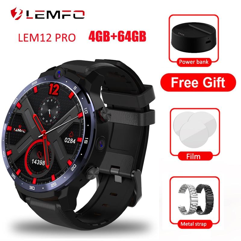 LEMFO LEM12 برو ساعة ذكية الرجال 4G RAM 64G ROM Smartwatch أندرويد 10.0 LTE 4G Sim واي فاي معدل ضربات القلب 1.6 بوصة كامل الشاشة