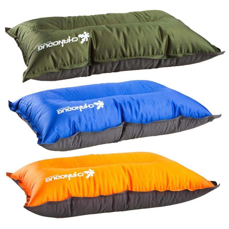 AirPillow inflable automático portátil suave cuello almohada respaldo con bolsillo de almacenamiento al aire libre interior viaje hogar Oficina *