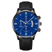 casual watches for men blue top brand luxury leather watchband wrist watch man clock fashion date chronograph wristwatch