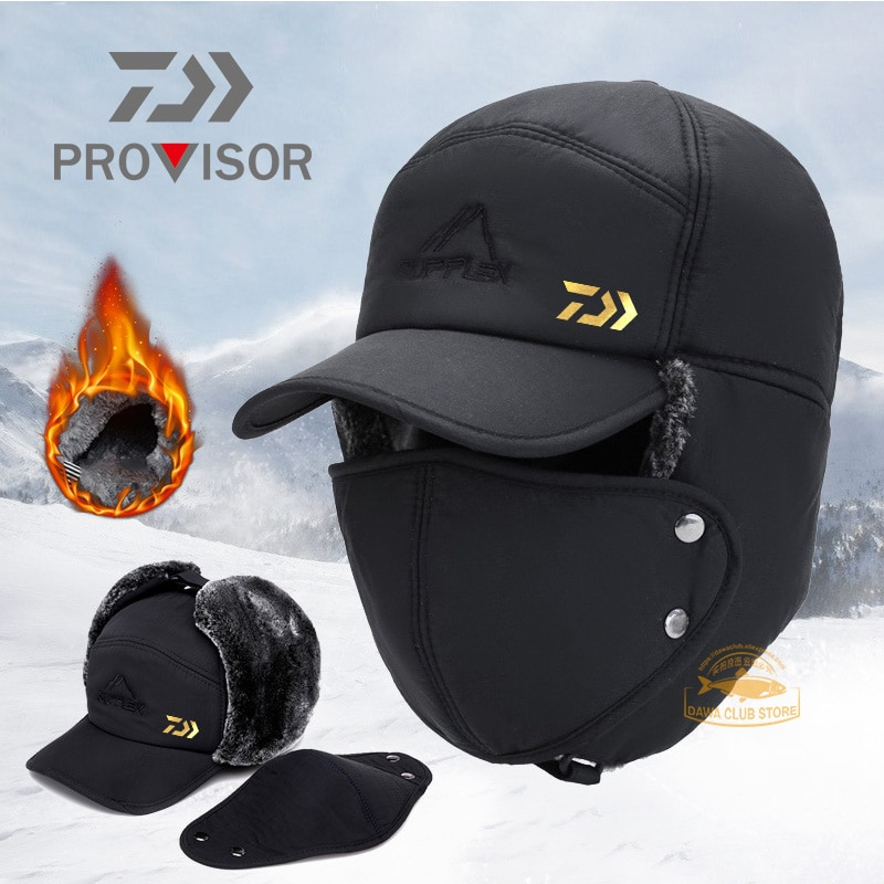 2020 DAIWA Fishing Winter Thermal Bomber Hats Men Women Ear Protection Face Mask Windproof Ski Cap Velvet Thicken Couple Hat