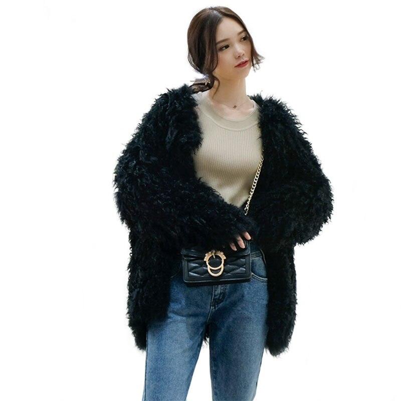 Abrigos de piel auténtica tejida a la moda para mujer, chaquetas de piel auténtica de cordero Tíbet con mangas completas, chaqueta de piel auténtica para mujer