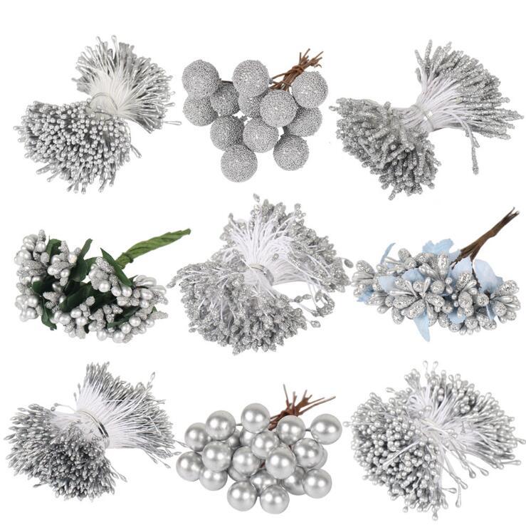 8/10/12/90/144pcs Silver Stamen Berry Fruit Bundle Artificial Plants Diy Gift Box Wreath Scrapbook Accessories Craft Flowers