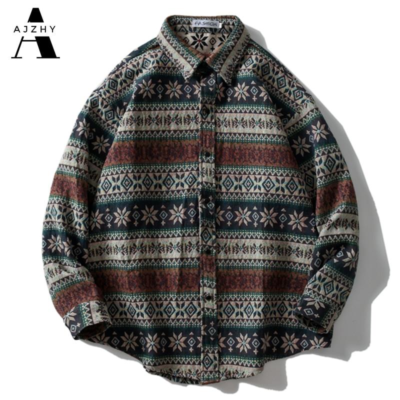 AJZHY-قميص مخطط للرجال ، نمط وطني ، عتيق ، نمط هندسي ، أكمام طويلة ، خريف وشتاء ، ملابس الشارع المحبوكة السميكة ، بلوزات غير رسمية