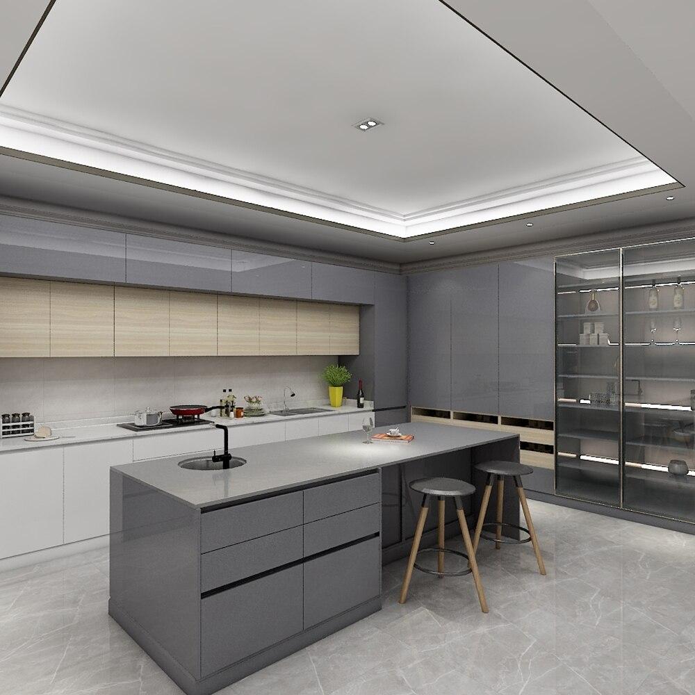 Dl personalizado alto brillo laca gabinetes de cocina con Isla diseños 3D imágenes