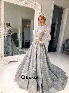 Gray Illusion Full Sleeves Lace Evening Dresses robe soiree Islamic Dubai Kaftan Saudi Arabic Prom Gown