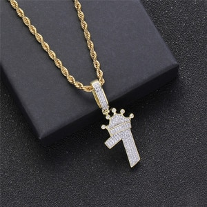 Iced Out AAA Zircon Lucky Number 7 Pendant Hip Hop Bling Crown Charm Jewelry Men'S Party Necklace Gift