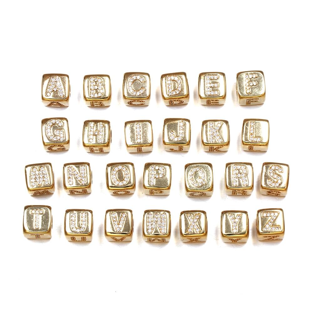 Ouro liga de zinco carta contas cubo buraco duplo adicionar cristal diy para fazer colares e pulseiras 8x8mm