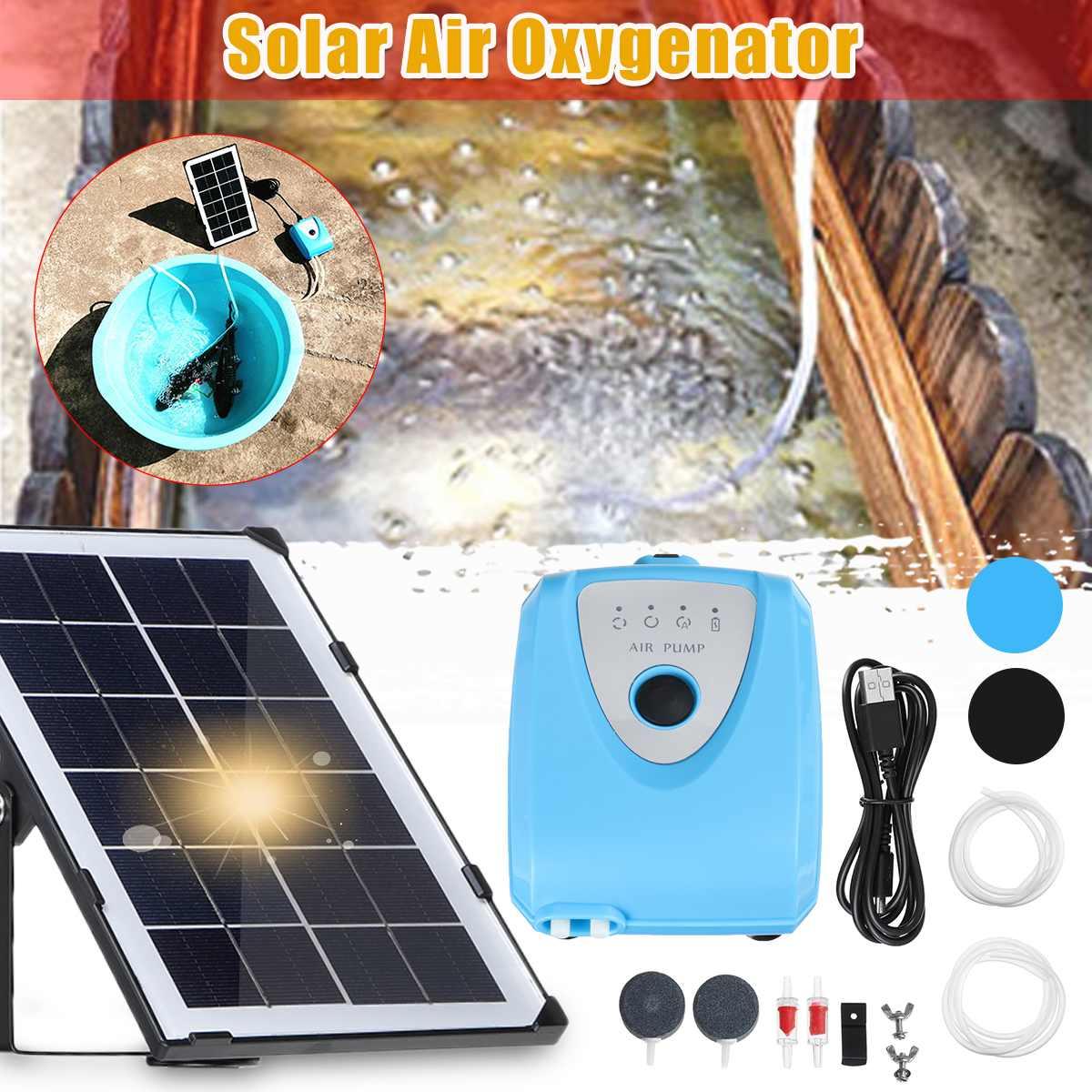 Panel Solar de la bomba de aire del acuario tanque de peces silencioso Mini compresor para acuario de la bomba de oxígeno de la bomba oxigenador aireador al aire libre casa