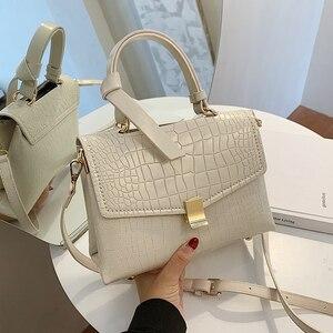 Crocodile pattern Contrast color Tote bag 2020 New High quality PU Leather Women's Designer Handbag Lock Shoulder Messenger Bag