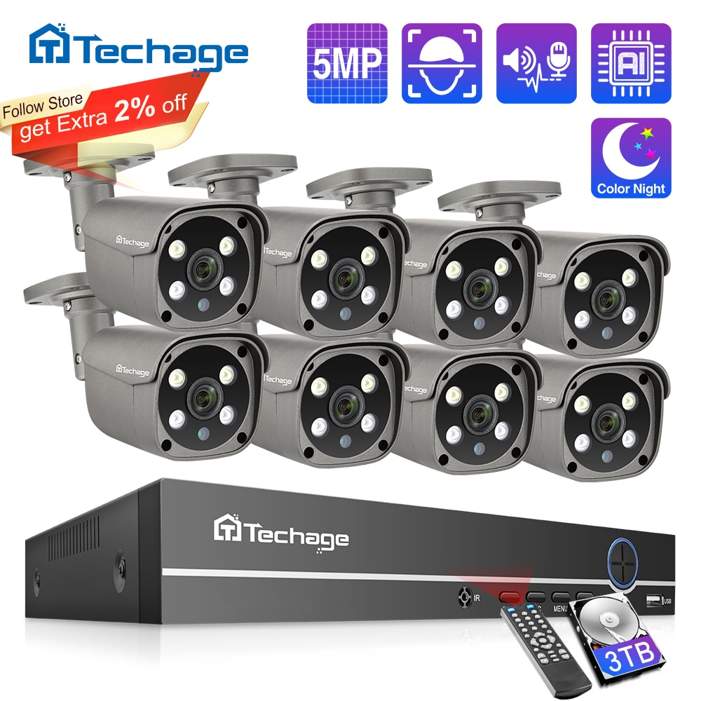 Techage Security Camera System 8CH 5MP HD POE NVR Kit CCTV Two Way Audio AI Face Detect Outdoor Video Surveillance IP Camera Set