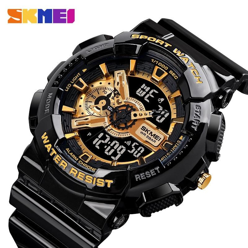 SKMEI Youth Fashion Digital Watch Men Shockproof Waterproof Dual Wristwatches LED Chrono Alarm Clock