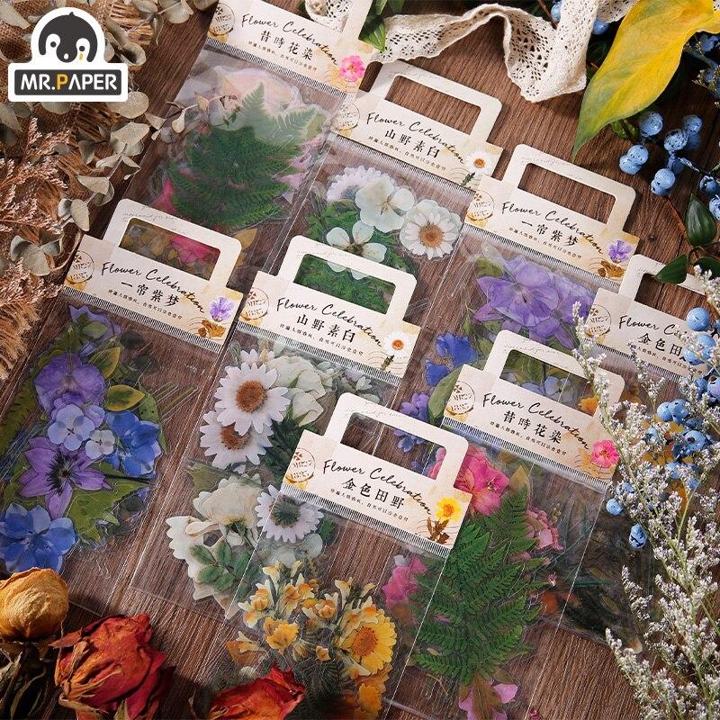 il-sig-sacchetto-di-carta-4-disegni-naturale-daisy-clover-giapponese-parole-adesivi-materiale-pet-trasparente-fiori-foglie-di-piante-deco-adesivi