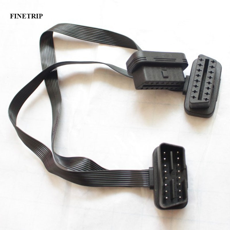Factory 15% Off 16 Pin  OBDII OBD-II OBD 2 OBD2 Splitter Cable Flat Thin As Noodle ELM327 Male To dual Female Y Extension Cables