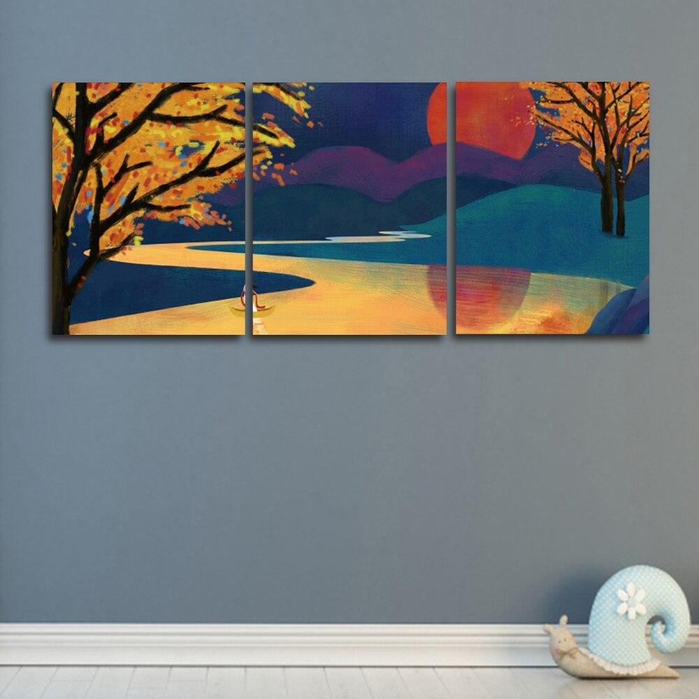 HD moderno paisaje de dibujos animados Interior lienzo pintura cuadros de pared para sala de estar dormitorio decoración arte de pared imagen 3 piezas