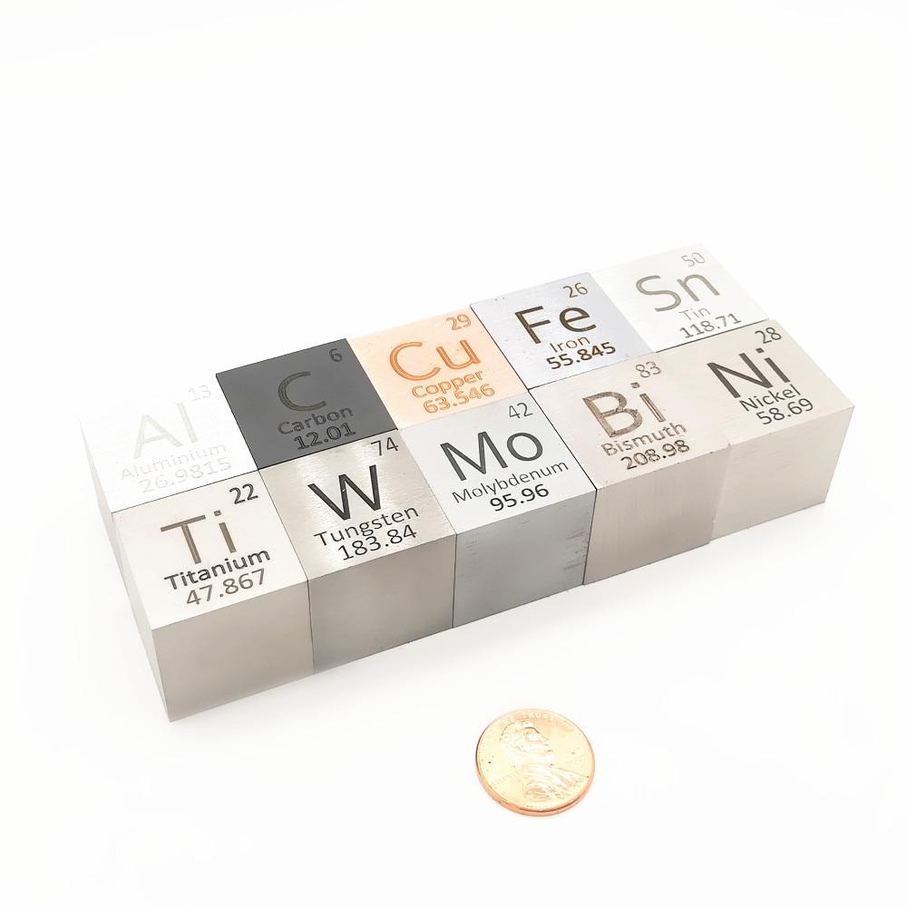 عنصر مكعب 25.4 مللي متر 1 بوصة المعادن التقطير المولي كتلة الكثافة الدورية جمع Cu Bi Sn Al التيتانيوم التنغستن Mo C Ni
