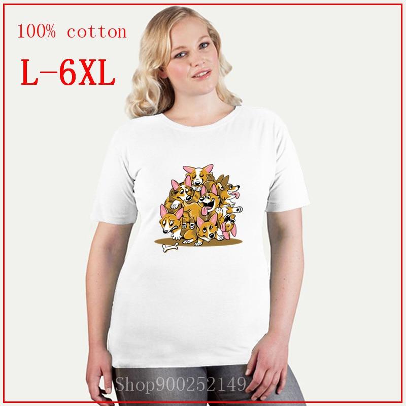 Nueva camiseta veraniega con perro Corgi bonito, camiseta para mujer con diseño divertido de perro de dibujos animados y Corgi con estampado en blanco, blusas para perros Kawaii, talla grande 4XL 5XL 6XL