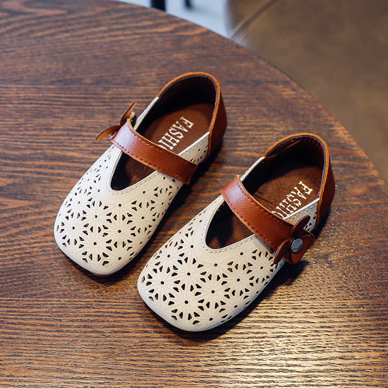 Campus Princess Spring Summer New Hollow Design Hole Shoes Girls PU Leather Shoes Children Little Gi