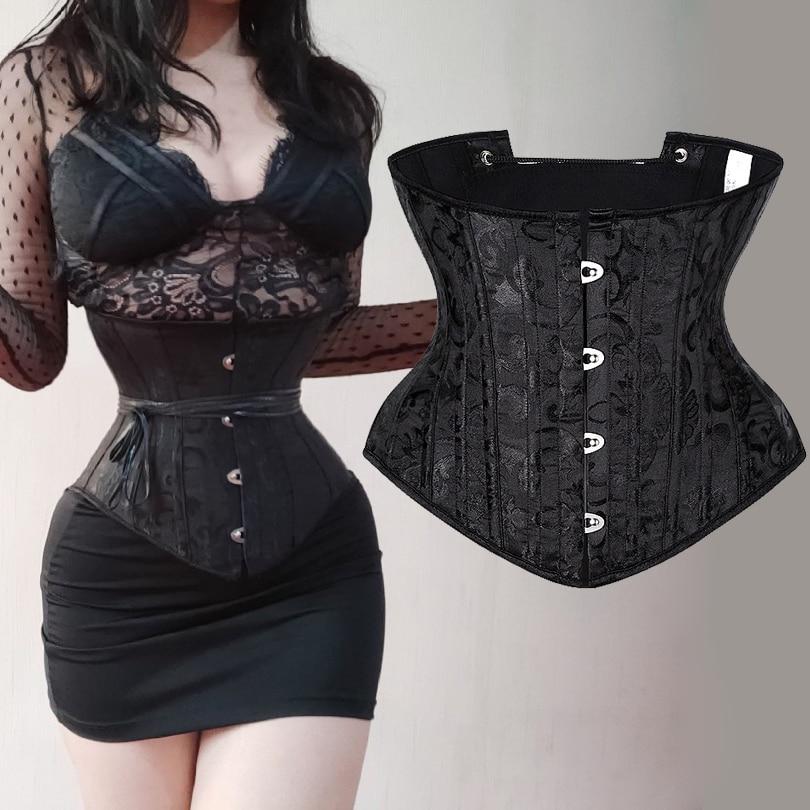 Underbust Corset Sexy Gothic Busiter Steel Boned Waist Trainer Short Torso Women Slimming Sheath Girdle Waist Cincher Lace Up