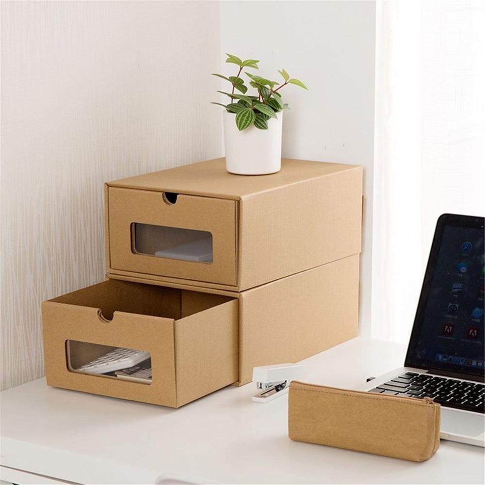 Caja de regalo cajas de cartón коробка engrosada de cartón Kraft transparente de la caja de cajón caja receptáculo de подарочная коробка 32