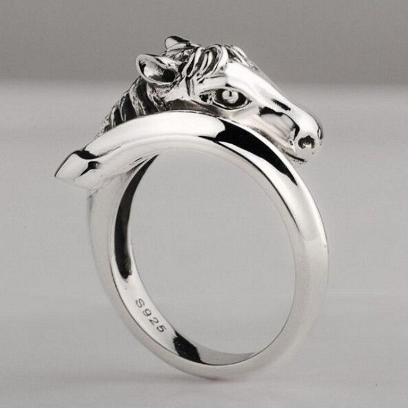 S925 moda novo anel de prata para As Mulheres de jóias de prata cabeça de cavalo simples anel para Homens de personalidade anel de prata do homem anel da mulher