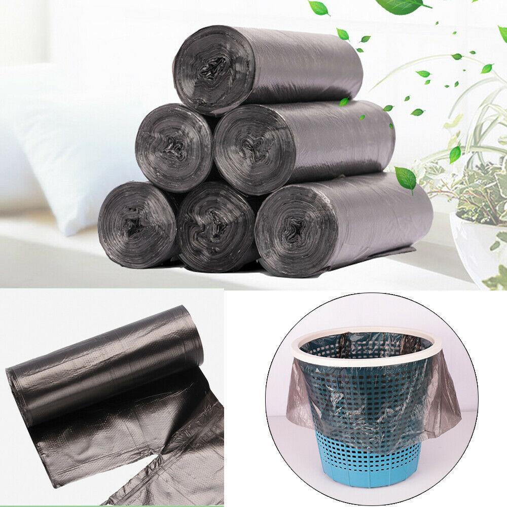 5 rollos/lote de bolsas de basura grandes, negras, gruesas, desechables, bolsas de basura de plástico para privacidad, 45x50 cm