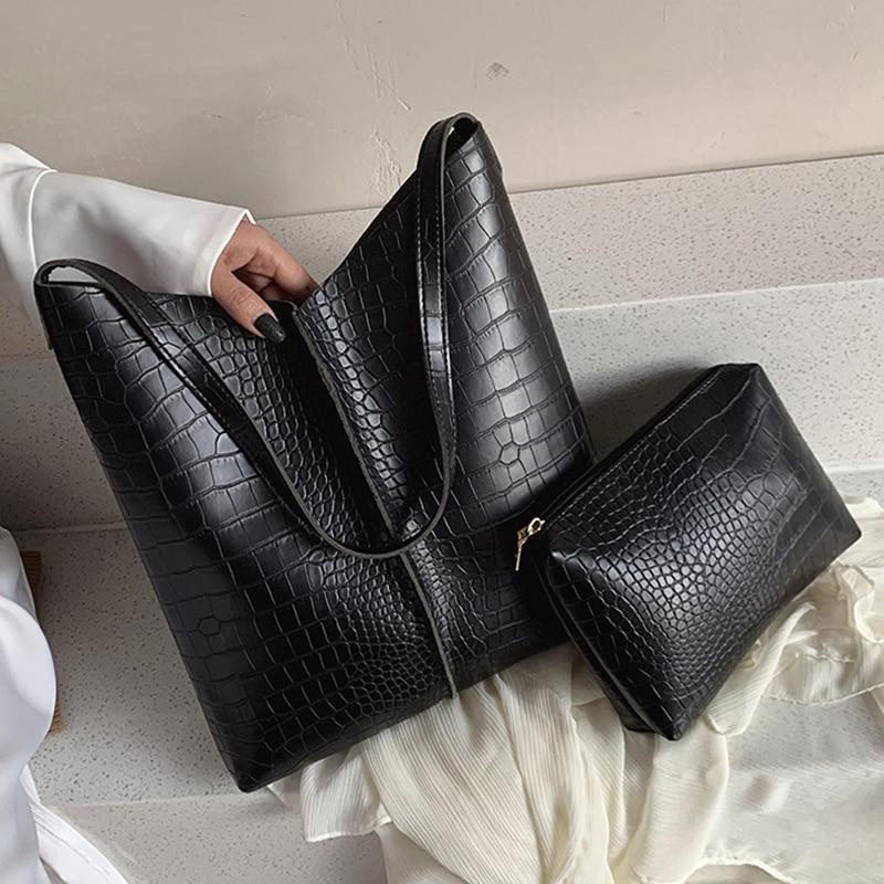 Ansloth Crocodile Pattern Composite Bag Women Handbag Leather Shoulder Bag Lady's Bucket Bag Purses And Handbag Top-Handl HPS877