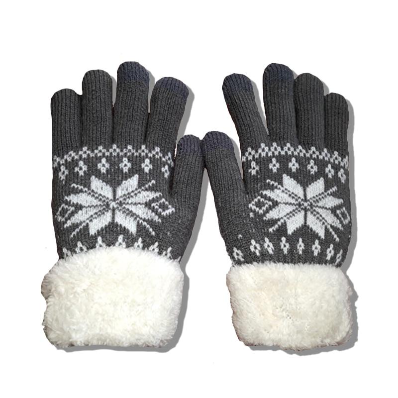2020 inverno quente luvas de lã de malha luvas de pulso dos homens das mulheres floco de neve padrão de malha dedo cheio esqui & luva de tela de toque