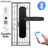 RAYKUBE Smart Door Lock Double Fingerprint & Password & Bluetooth TTlock APP Handle For Wrought Iron Hollow Metal Door D22