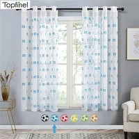 topfinel embroidered football sheer curtains for living room bedroom children kids room tulle window curtains yarn drapes
