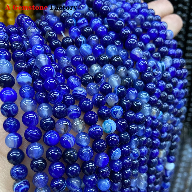 Naturel Bandes Agates Pierre Borland Rayé Rond Perles En Vrac BRICOLAGE Bracelet À Breloques Collier 15 ''6/8/10mm/12mm