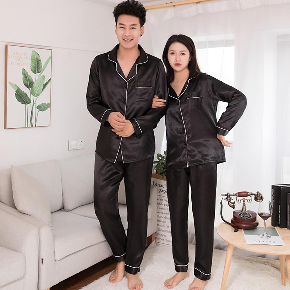 Silk Satin Men Pajamas Set Fashion Sleepwear Couple Solid Color Long Sleeve Suit Casual Two-Piece Py