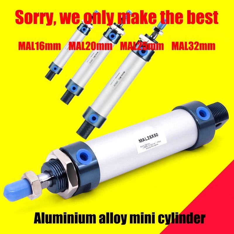 Mini cilindro mal16/20/25/diámetro 32mm aleación de aluminio 100 putter neumático 100 cilindro redondo 16*20mm pequeño cilindro