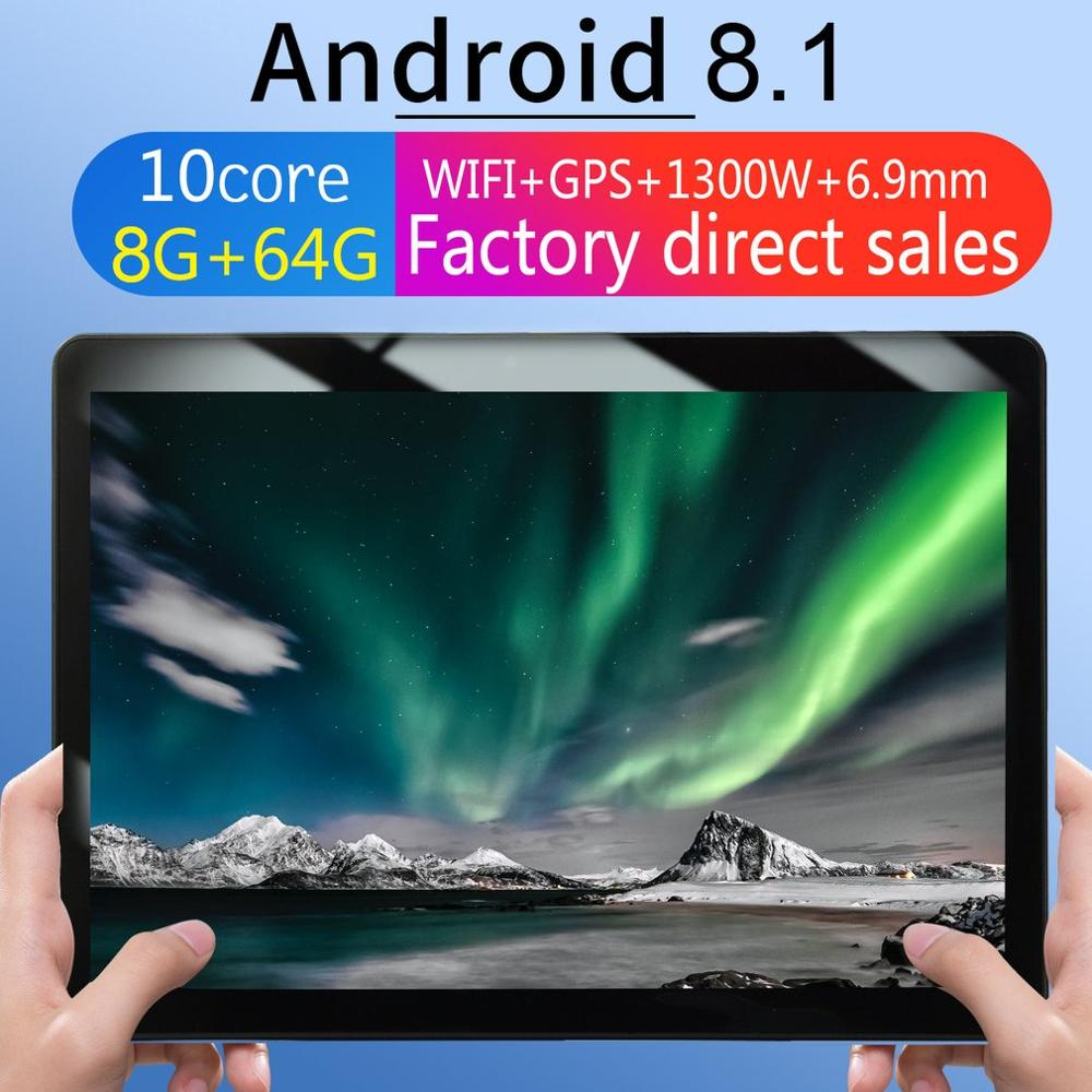 2021 New KT107 Round Hole Tablet 10.1 Inch HD Large Screen Android 8.10 Version Fashion Portable Tablet 8G+64G Black Tablet