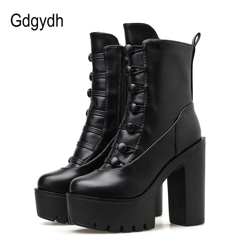 Gdgydh Frühling Herbst Plattform Stiefel Super High Heels Damen Stiefeletten Mit Zipper Platz Ferse Party Kleid Schuhe Punk Rabatt