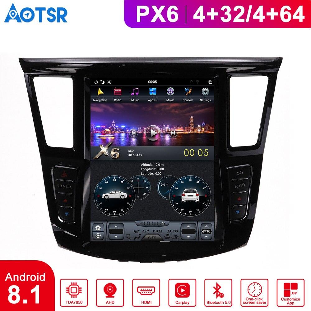 Android 8,1 4GB tesla estilo pantalla vertical coche reproductor de audio GPS para Infiniti QX50 Q50LQ QX60 soporte espejo enlace grabadora de cinta