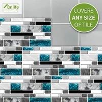 funlife%c2%ae grey agate blue glass tile sticker wallpaper decorative self adhesive easy to clean bathroom kitchen backsplash floor