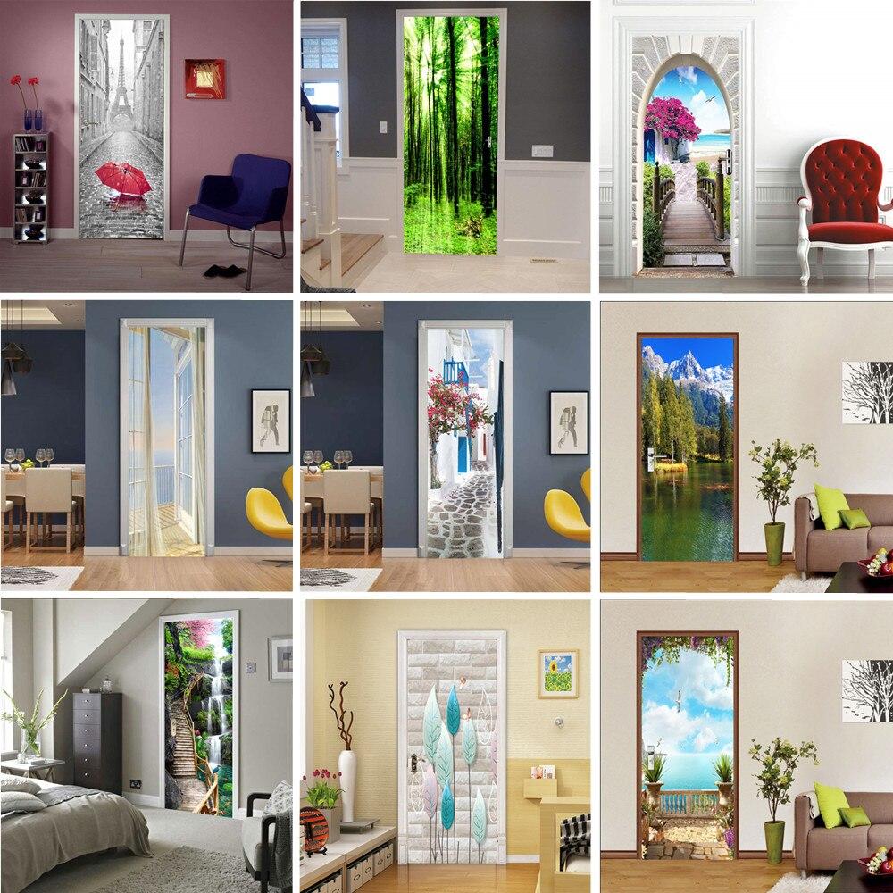 Self-adhesive Door Wallpaper Beach Sun 3D PVC Home Design Decoration Sticker Porte Scenery Poster Mural Wall Decals Room Decor