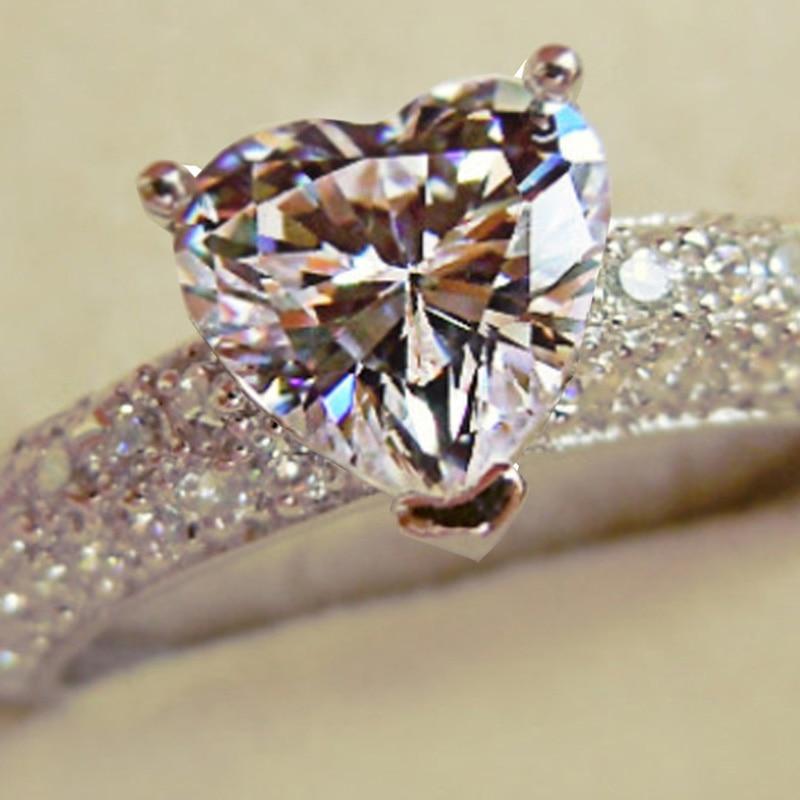 Joyería de lujo, anillo de plata 925 Real para mujer, corazón romántico, anillos de compromiso de diamante simulado de 2 quilates, venta al por mayor