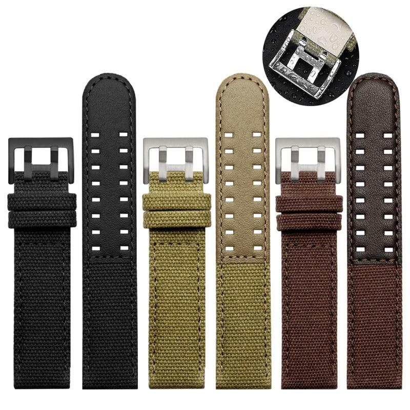 for Hamilton Khaki Navy Khaki Field H68201993 H38416111 Genuine Leather Nylon Watchband 20mm 22mm fo