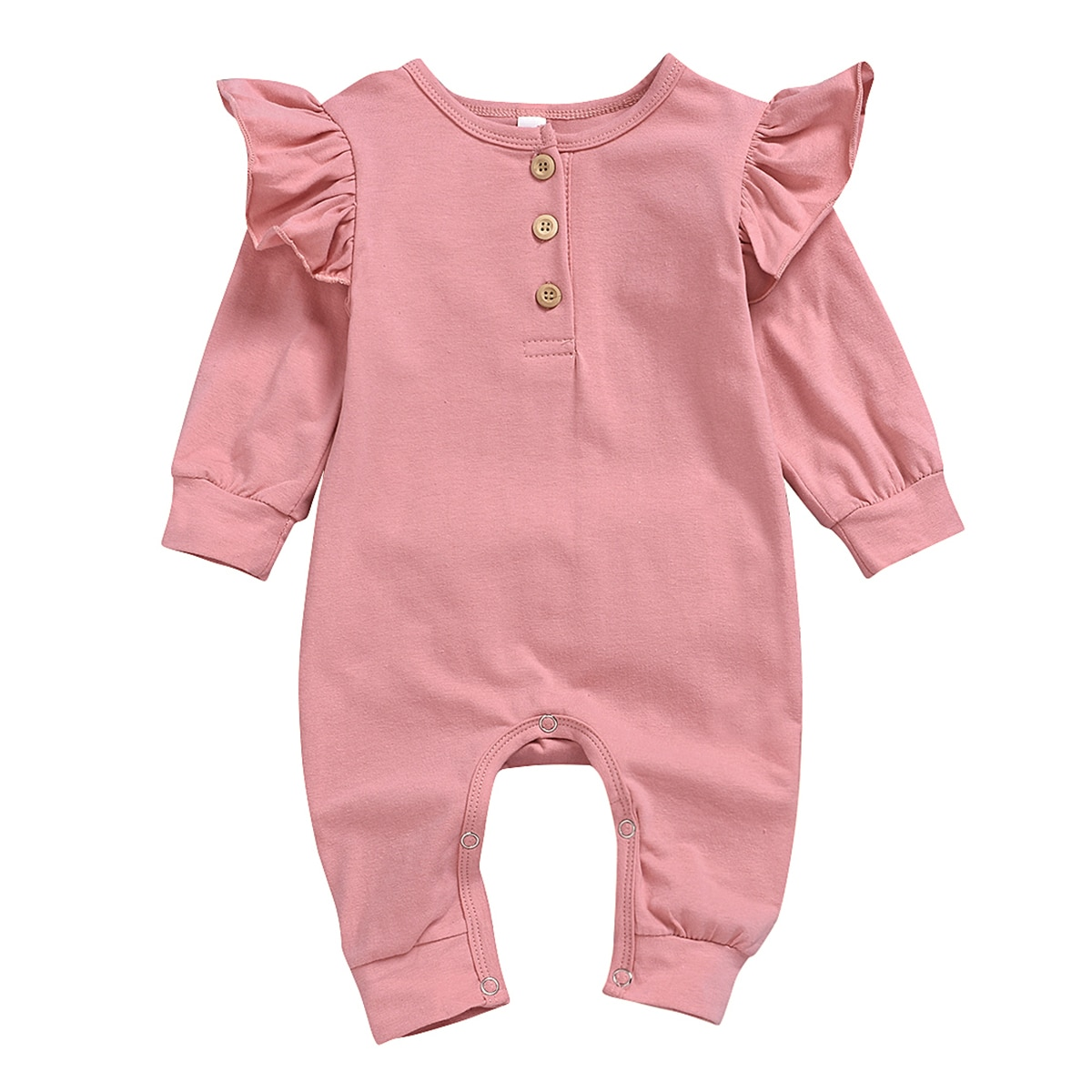 Puseky New Baby Girl Button Ruffled Romper Jumpsuit Playsuit Outfit Autumn Clothes 3M-24M